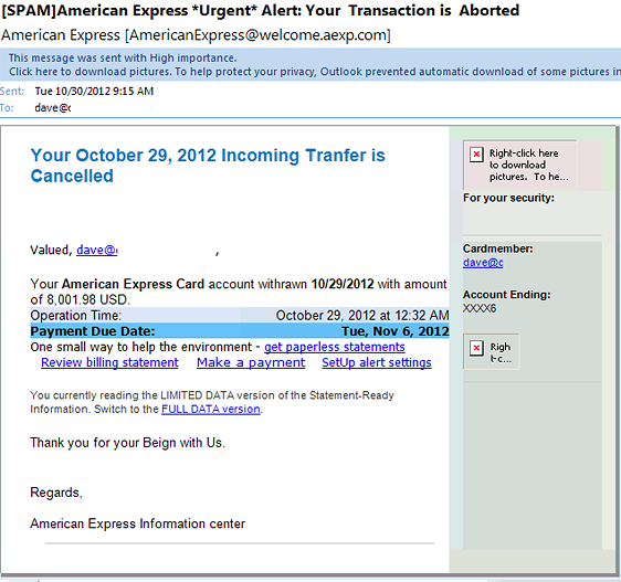 american express alert transaction email scam note