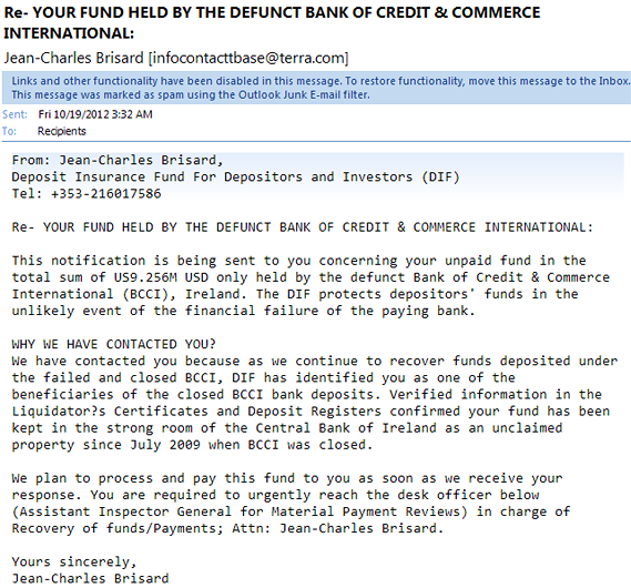 bank funds waiting email scam