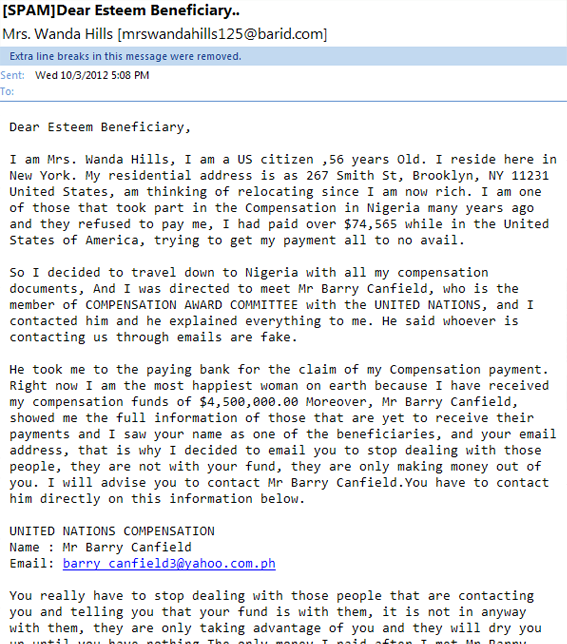 beneficiary email phishing scam