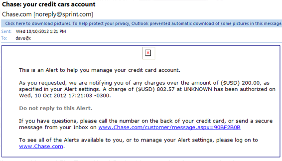 credit card alert email phishing scam