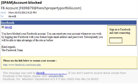 facebook email phishing scam