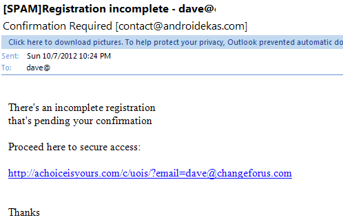 incomplete registration email phishing scam