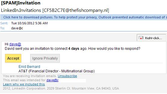 linkedin invite email phising scam