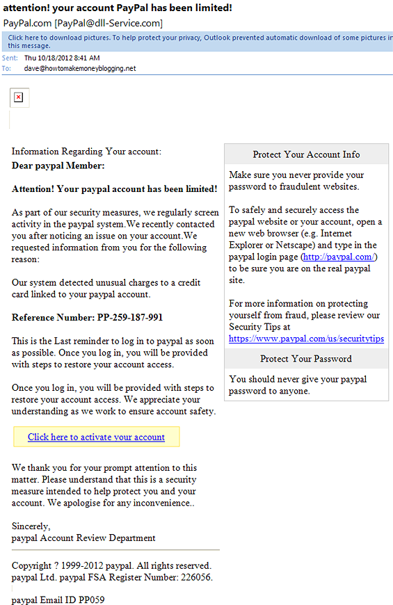 paypal limit on account phishing email