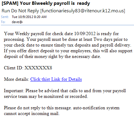 payroll processing email phishing scam