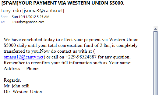 western union email phishing scam