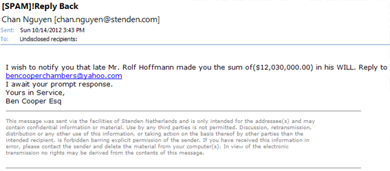 will money email scam