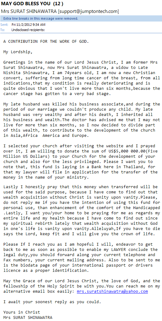 email scam a contribution for the work of god