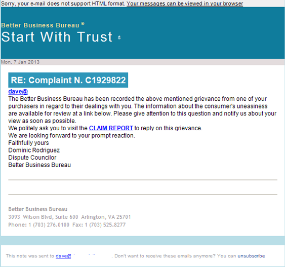 bbb better business bureau scam email