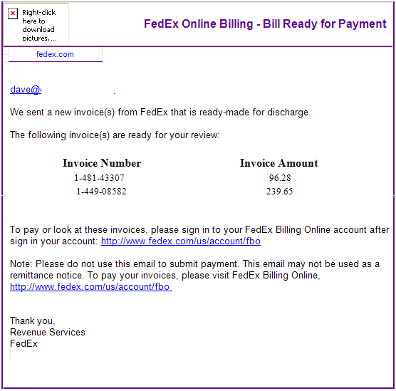 fed ex billing email scam