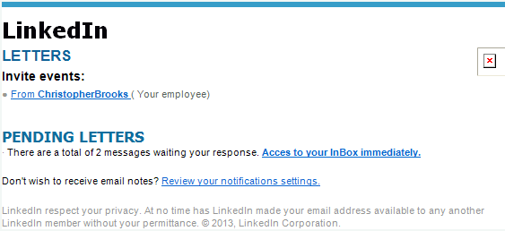 linkedin notificaton email scam