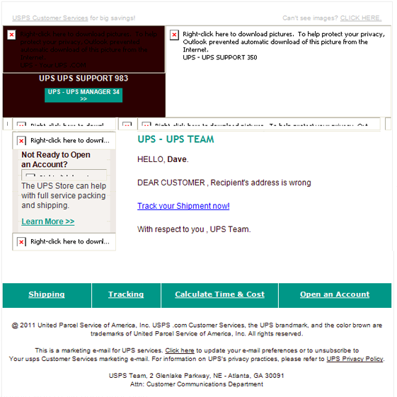 ups track your shipment email scam