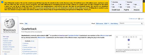wikipedia begging for money
